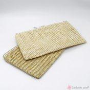 ψάθινο τσαντάκι φάκελλος με φερμουάρ