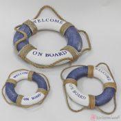 Μπλε διακοσμητικό σωσίβιο welcome on board