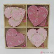 Ροζ ξύλινες καρδιές 5.5cm σετ8
