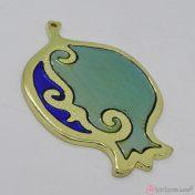 Χρυσό μεταλλικό ρόδι με μπλε διάφανο σμάλτο