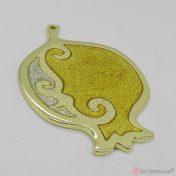 Χρυσό μεταλλικό ρόδι με χρυσόσκονη σμάλτο