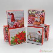 Σκληρά τετράγωνα κουτιά με χριστουγεννιάτικες παραστάσεις, για αμπαλάζ