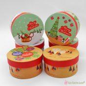 Στρογγυλά χριστουγεννιάτικα κουτιά 11*5cm