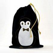 Μαύρο βελούδινο πουγκί πιγκουίνος 20*30cm