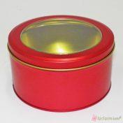 Κόκκινο στρογγυλό μεταλλικό κουτί με διάφανο καπάκι