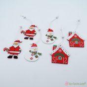 Ξύλινα χριστουγεννιάτικα στολίδια σετ6