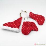 Υφασμάτινα χριστουγεννιάτικα στολίδια σκουφί, κάλτσα και γαντάκια