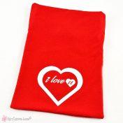 Κόκκινο βελούδινο πουγκί I love you