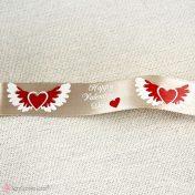 Λευκή σατέν κορδέλα φτερωτή καρδιά