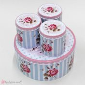 Στρογγυλό μεταλλικό κουτί με ροζ τριαντάφυλλο